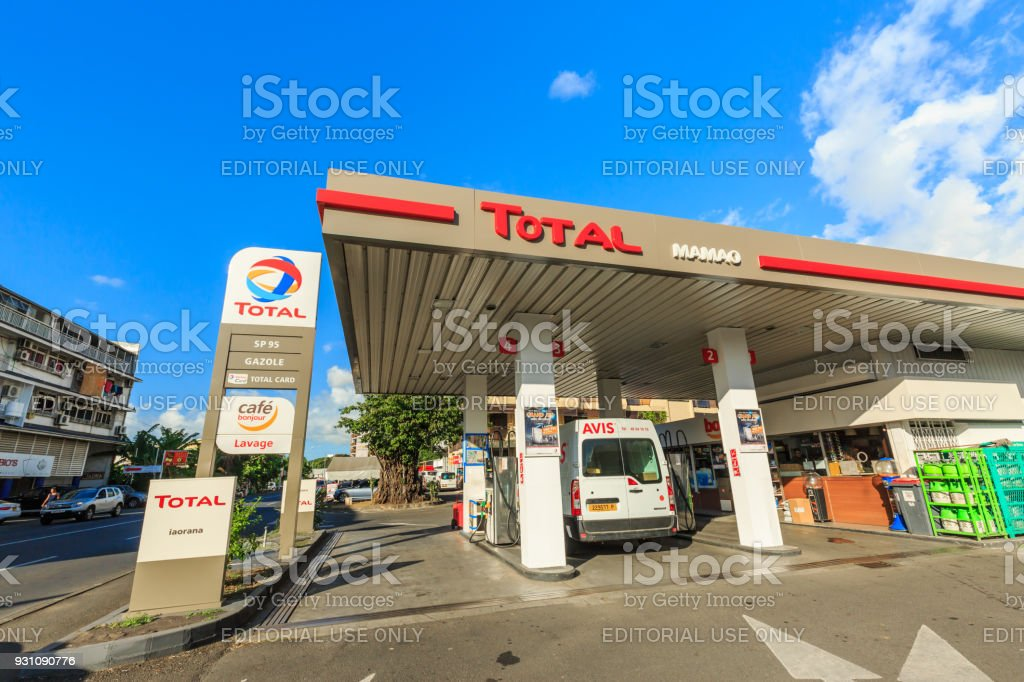 A view of petrol station in the town of Papeete early in the morning in Tahiti  Papeete, French Polynesia. stock photo