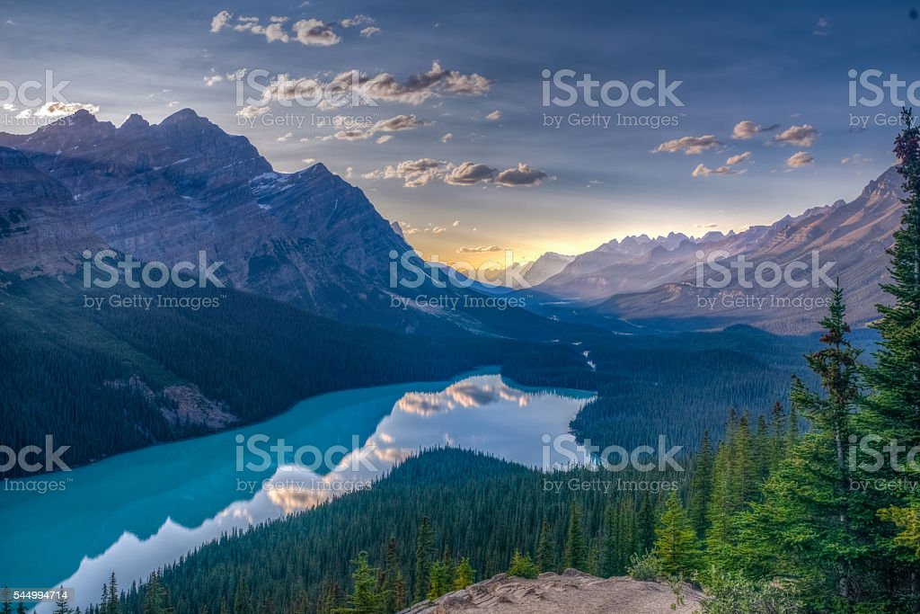 View of Peyto Lake, Jasper National Park, Canadian Rockies stock photo
