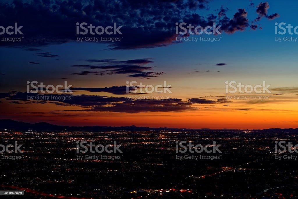 View of Phoenix, Arizona after sunset stock photo