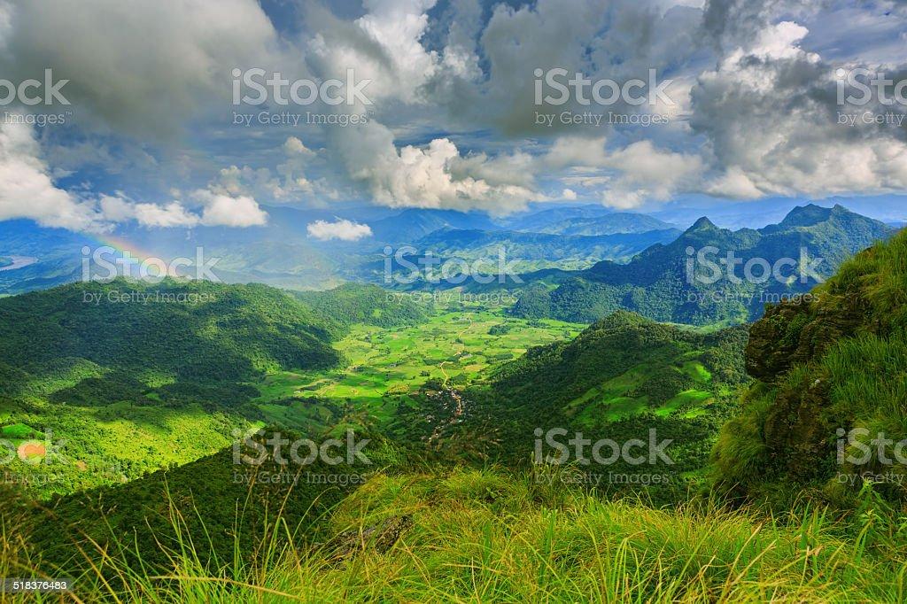 Blick auf Phi Chi Fa mountain im Chiangrai, Thailand Lizenzfreies stock-foto