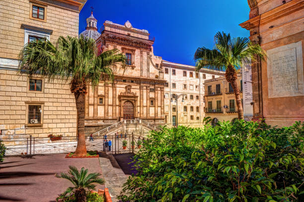 View of Piazza Bellini in Palermo, Sicily, Italy stock photo