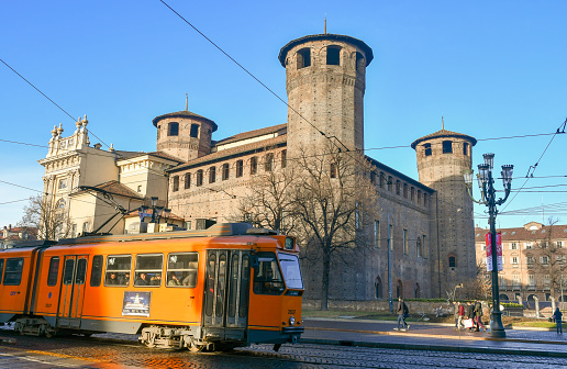 istock View of Piazza Castello (Castle Square) with the Casaforte of Acaja, Palazzo Madama and a passing tram 1090475108