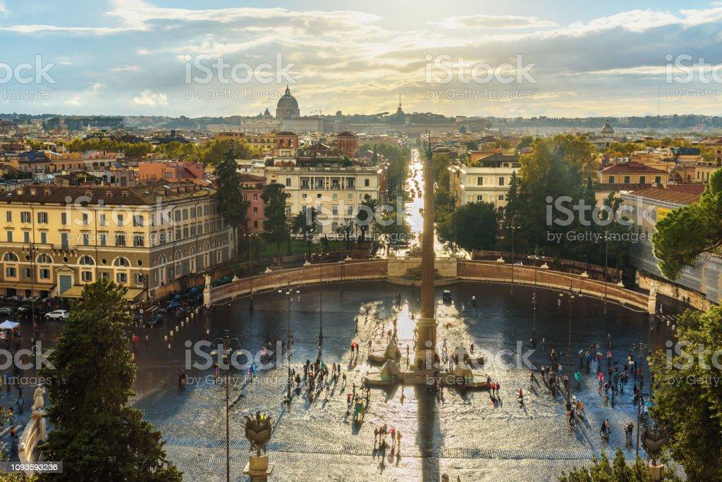 View Of Piazza Del Popolo From Terrazza Del Pincio Rome