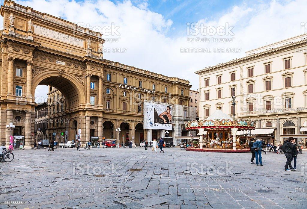 view of Piazza della Repubblica in Florence stock photo