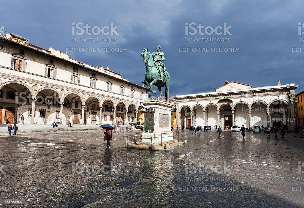 view of Piazza della Santissima Annunziata stock photo
