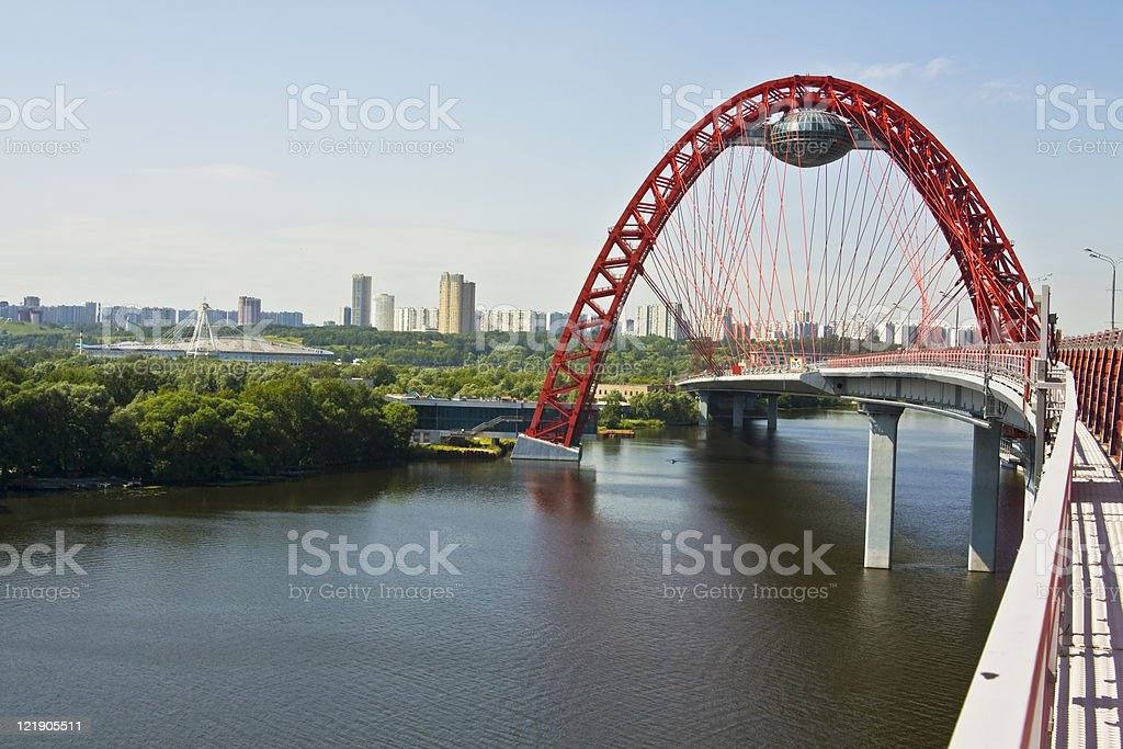 View of Pictorial Bridge in Moscow over River stock photo