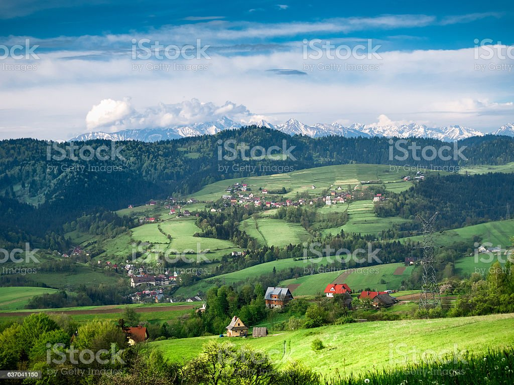 View of Pieniny and High Tatras from Gorce mountains stock photo