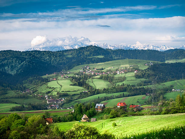 view of pieniny and high tatras from gorce mountains - pologne photos et images de collection