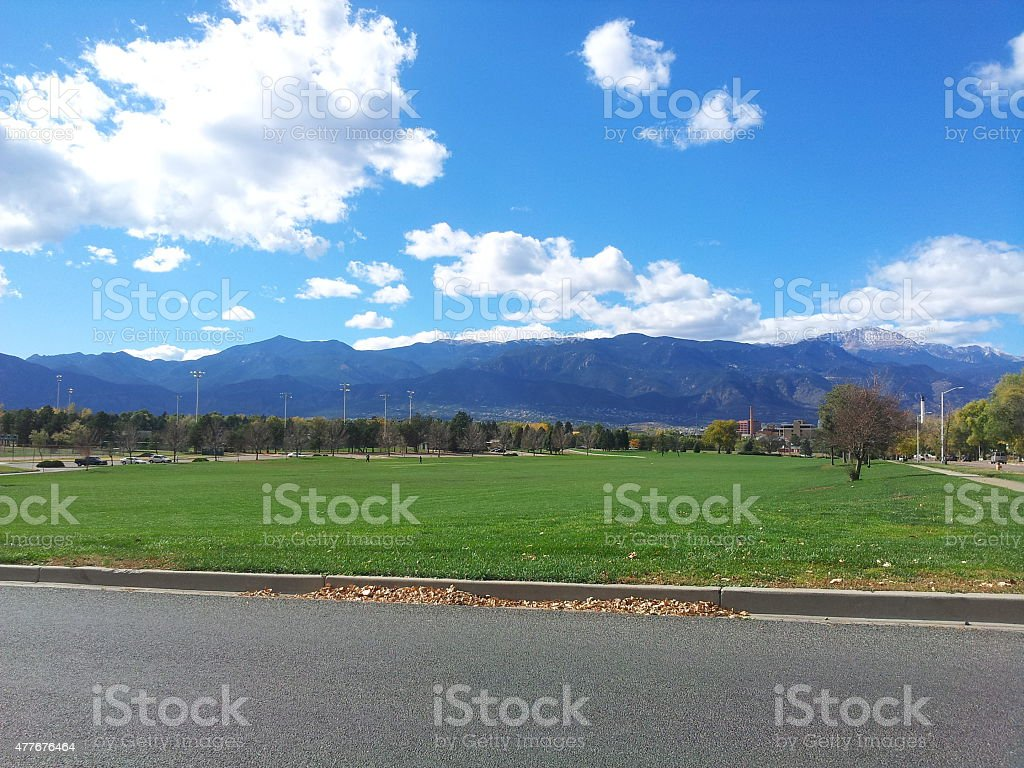 View of Pikes Peak from Colorado Springs stock photo