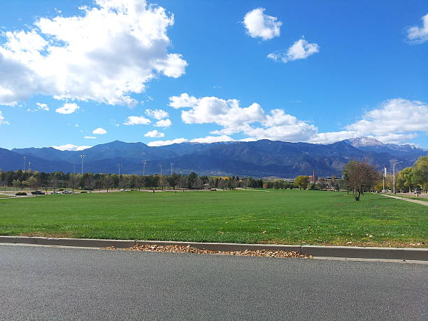 View of Pikes Peak from Colorado Springs stock photo