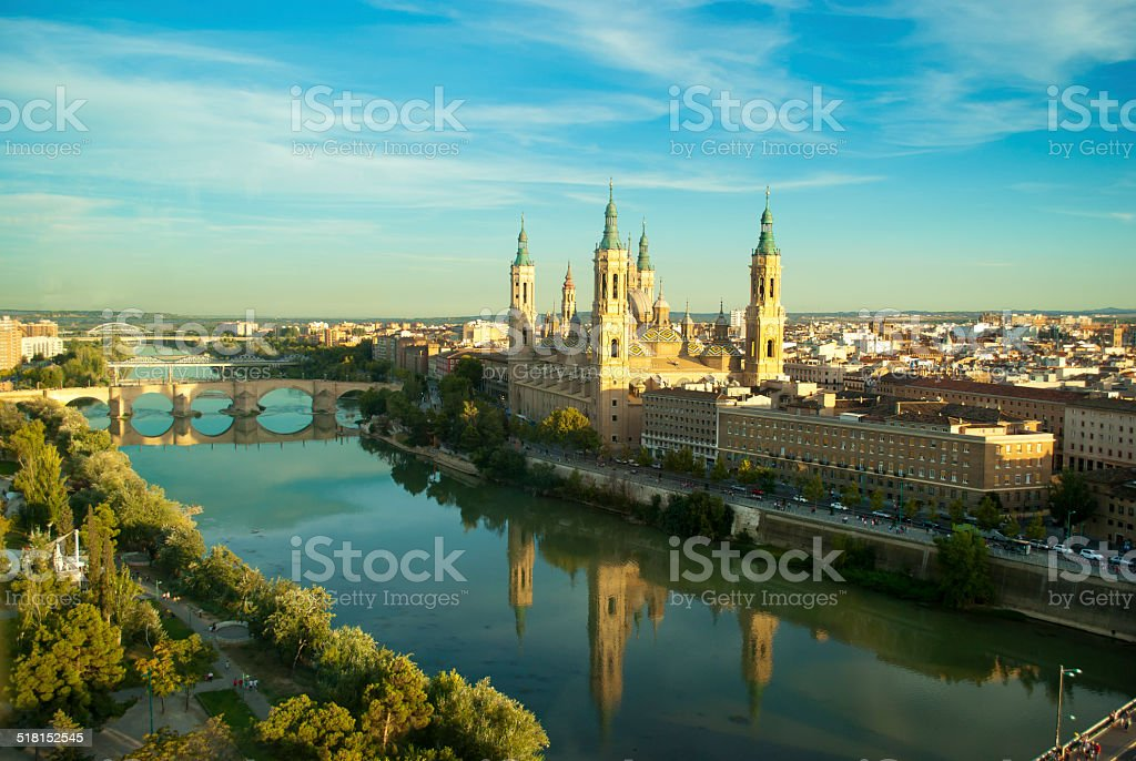 View of Pilar's cathedral and Ebro river in Zaragoza, Spain stock photo