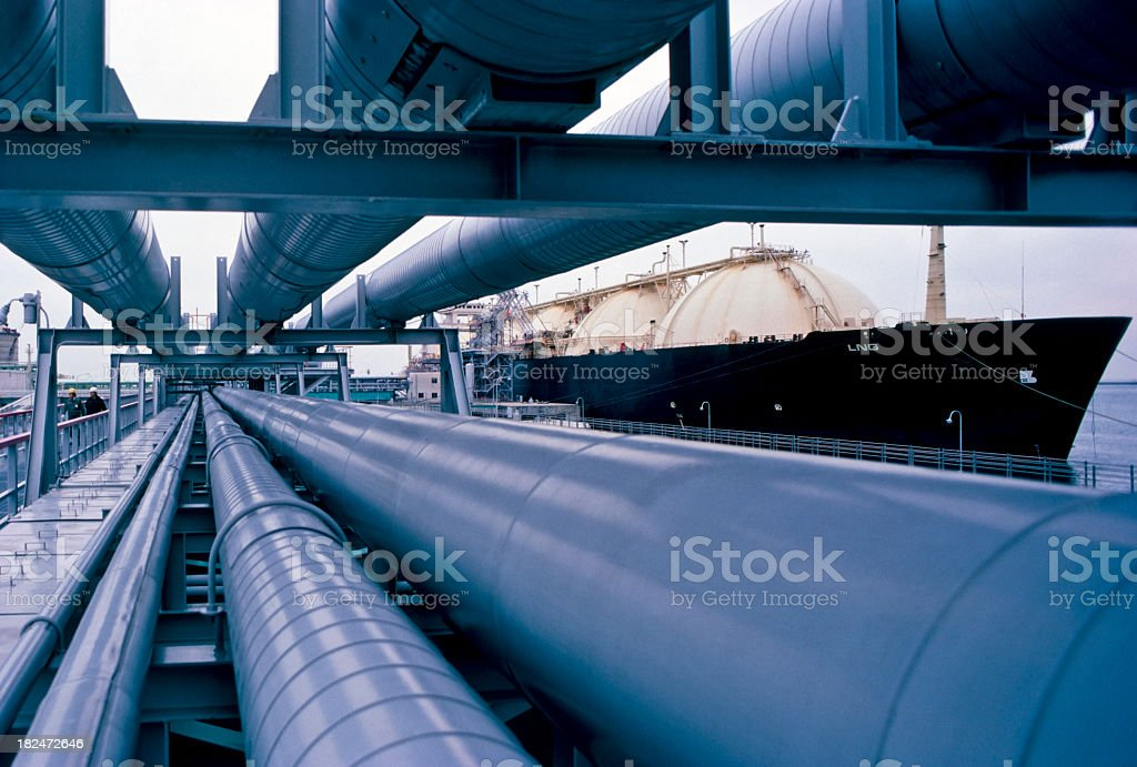View of pipes in the oil industry royalty-free stock photo