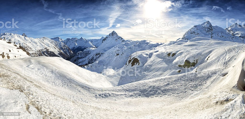 View of Piz Bernina Alps mountains in Switzerland. stock photo