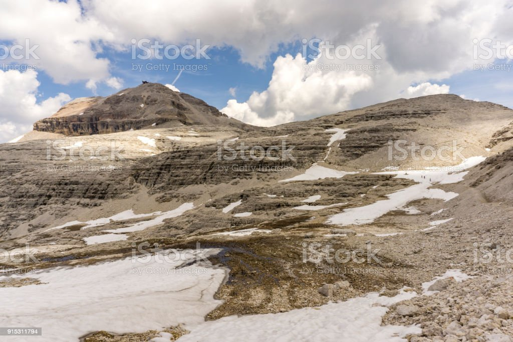 A view of Piz Boe. Dolomites. Italy. stock photo