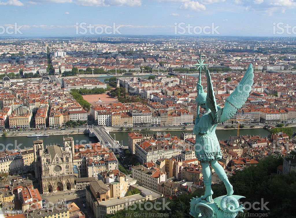 View of Place Bellecour from Fourviere Basilica stock photo