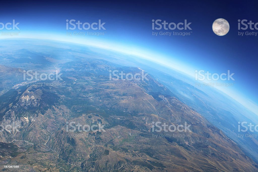 View of Planet Earth and The Moon stock photo