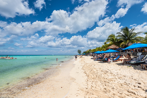 View of Playa Palancar, a beach on mexican island of Cozumel