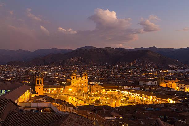 View of Plaza de Armas in Cusco stock photo