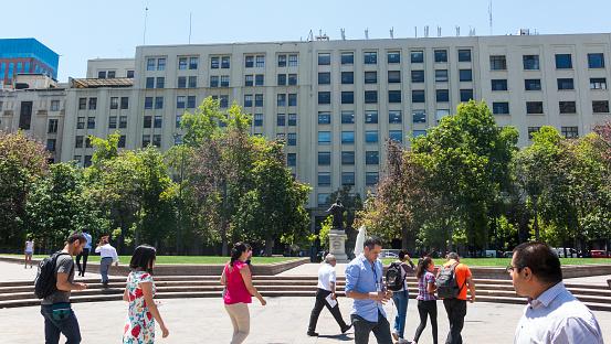 View of Plaza de la Constitución, in the center of the city of Santiago de Chile, Chile.