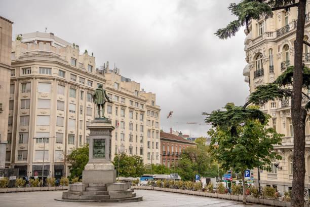 View of Plaza de la Cortes with the statue monument to Cervantes stock photo