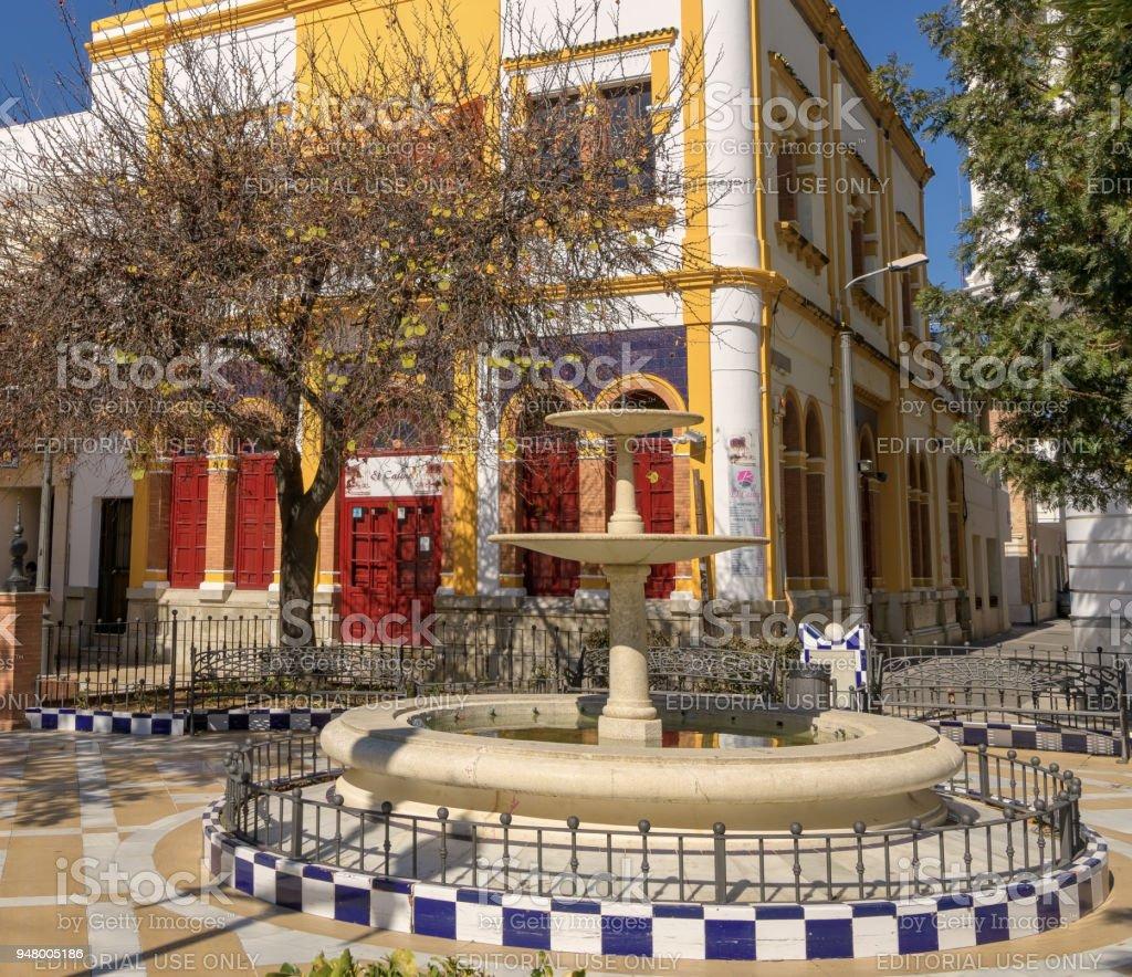 View of Plaza de las Flores in Isla Cristina, Huelva, Spain. stock photo