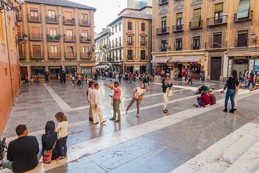 Granada, Spain - November 2, 2017: View of Plaza de las Pasiegas square in Granada.