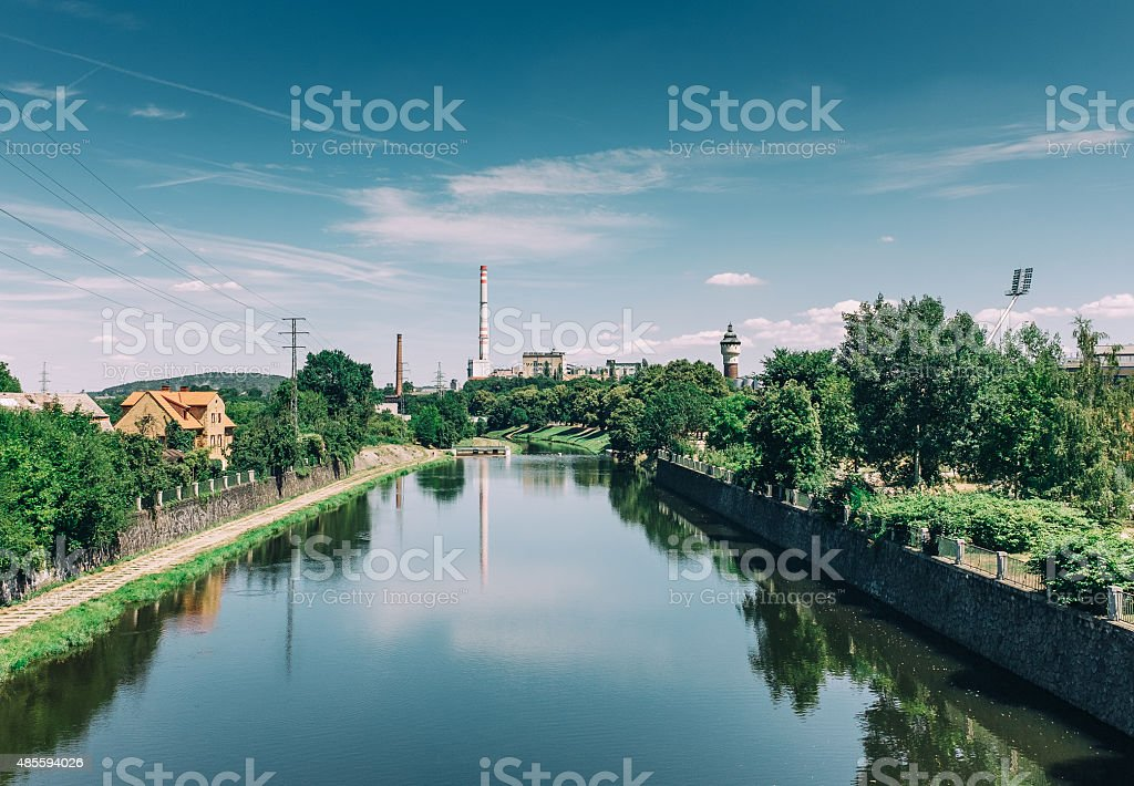 view of Plzen with Radbuza river and Brewery stock photo