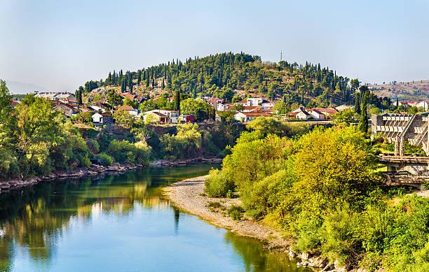 View of Podgorica with the Moraca river - Montenegro stock photo