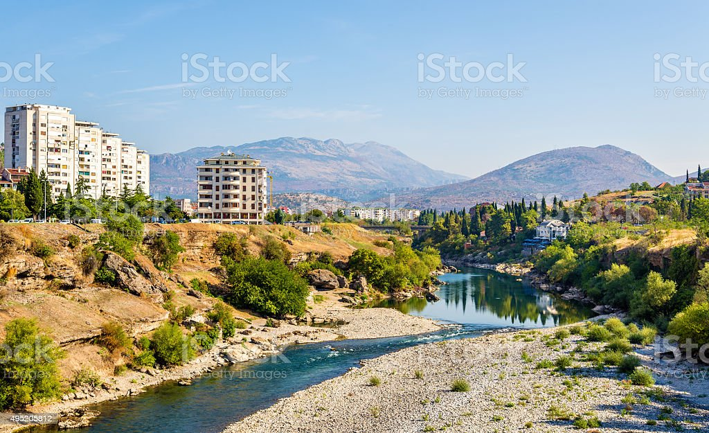 View of Podgorica with the Moraca river - Montenegro stock photo