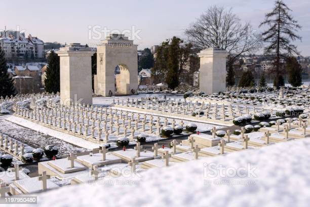 View of Polish military cemetery Cmentarz Orlat in Lychakiv Cemetery in Lviv city Ukraine