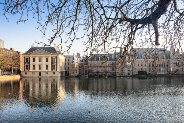 View of Pond Hofvijver, with the turret and the Mauritshuis of The Hague, the Netherlands-2019 Afternoon sun at the Hofvijver at Den Haag, The Netherlands kantoor stock pictures, royalty-free photos & images