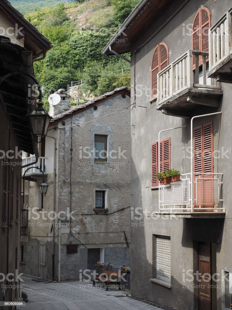 View of Pont Saint Martin old city centre stock photo