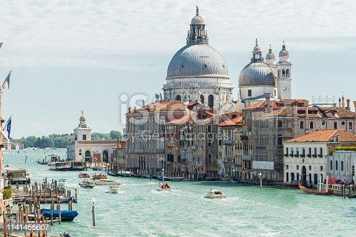 View of Ponta della Dogana and Santa Maria Salute church dome from the Ponte dell'Accademia (Accademia Bridge) on the Grand Canal at Venice, Italy.