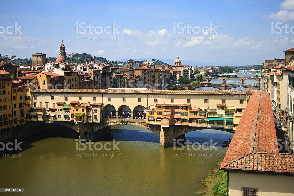 View of Ponte Vecchio and river Arno stock photo