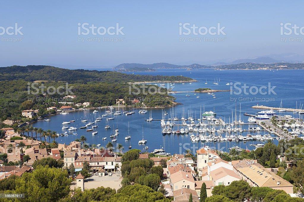 View of Porquerolles island marina in France stock photo