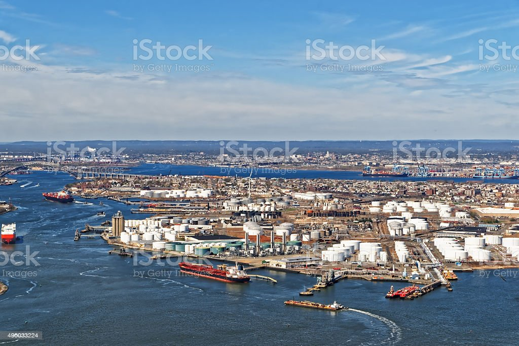 View of Port Newark and MAERSK shipping containers, Bayonne, NJ stock photo