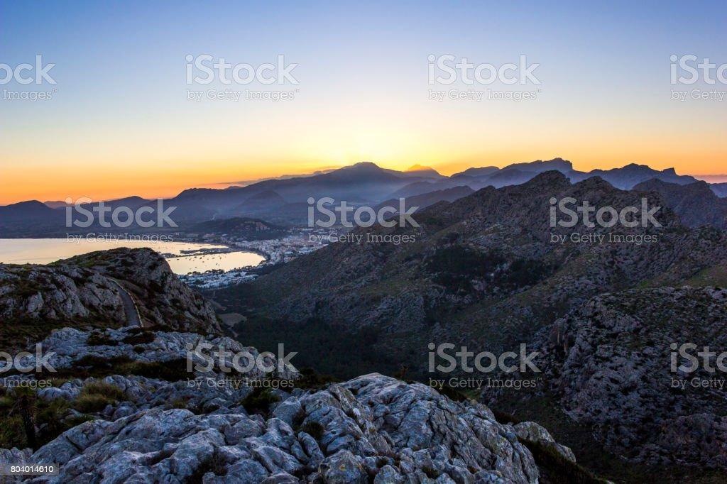 View of Port Pollensa / Pollenca from Cap de Formentor, in North Mallorca / Majorca stock photo