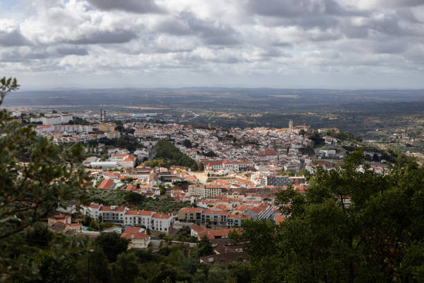 view of portalegre from a viewpoint. alentejo, portugal. - fotos de portalegre imagens e fotografias de stock