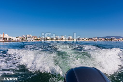 Photo taken in a Summer morning from a tourboat, taking visitors along the beautiful Algarve coastline to explore beaches and caves. The boat departed from the Clube Naval de Portimao yacht club.