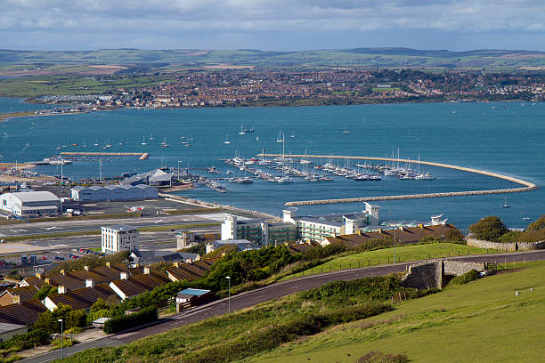 view of portland marina and weymouth bay dorset - weymouth stock photos and pictures