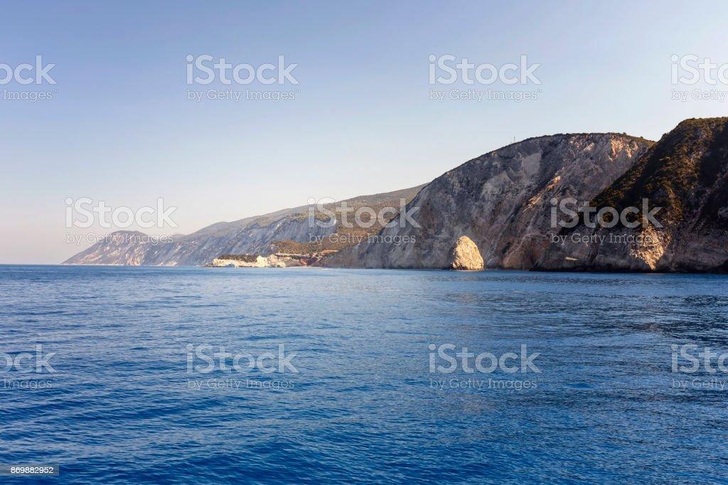 View of Porto Katsiki and the west coast of Lefkada, Ionian Islands, Greece stock photo