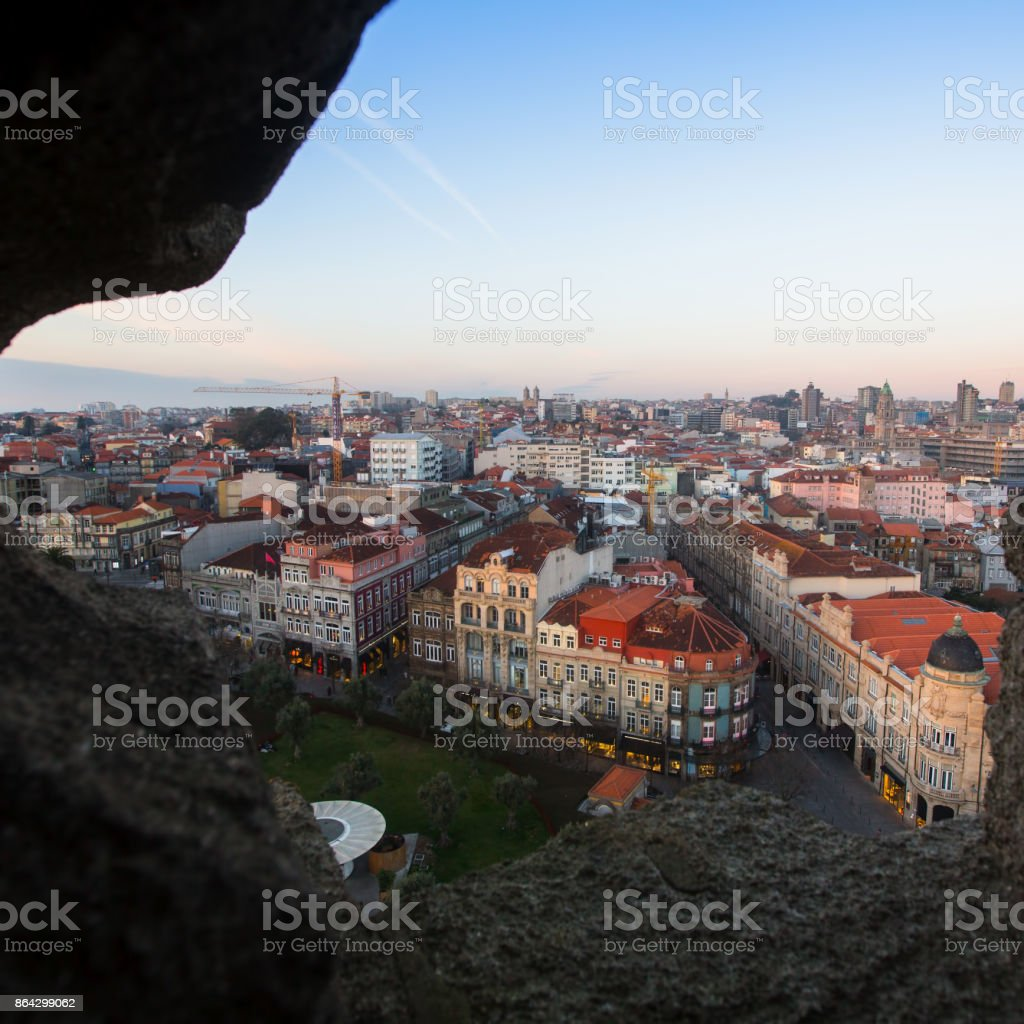 View of Porto old downtown from Clerigos Church, Portugal. royalty-free stock photo