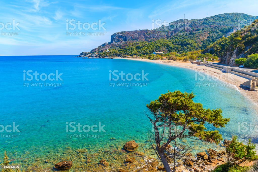 A view of Potami beach with azure sea water, Samos island, Greece stock photo