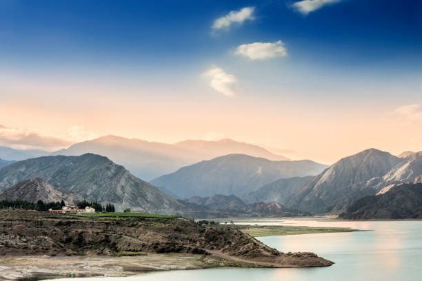 View of Potrerillos Lake in the Andes Mountains, Mendoza Province, Argentina. stock photo