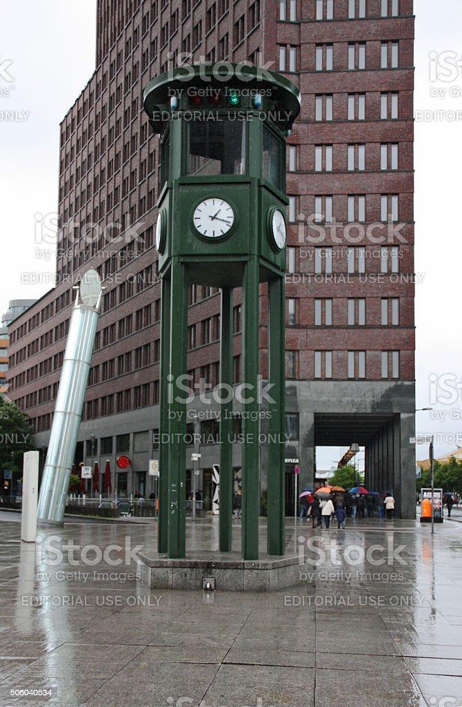 View of Potsdamer Platz clock stock photo