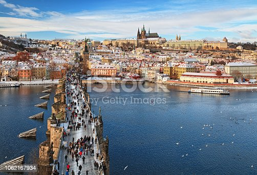View of Prague at winter over Vltava river