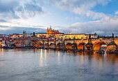 View of Prague at winter