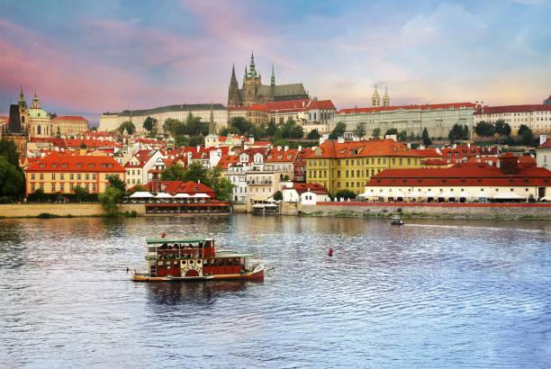 View of Prague castle (Prazsky hrad) across Vltava river in Prague, Czech Republic stock photo