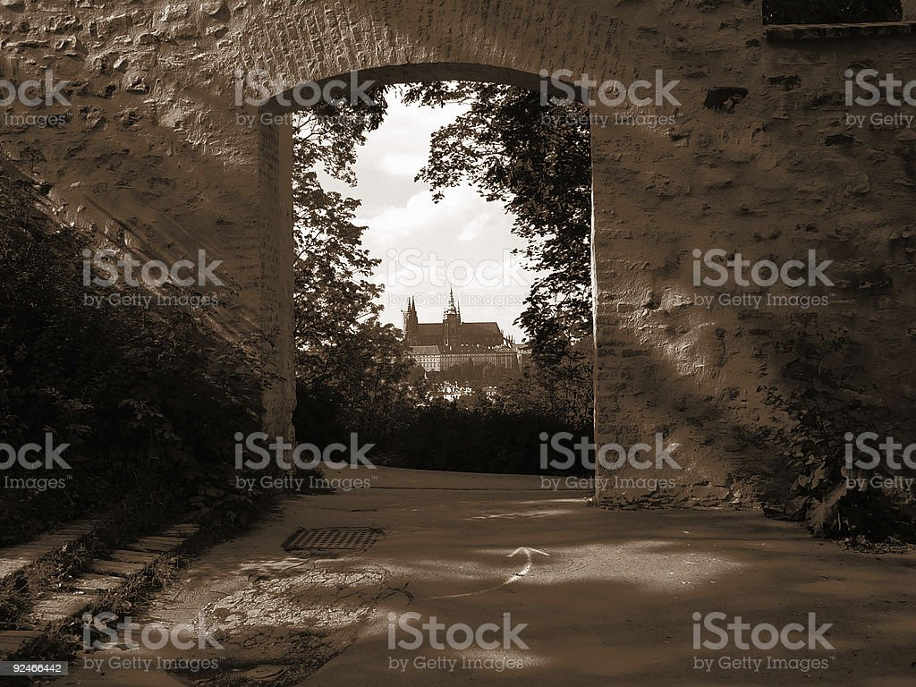 View of Prague Castle and St. Vitus Cathedral from Petrzin stock photo