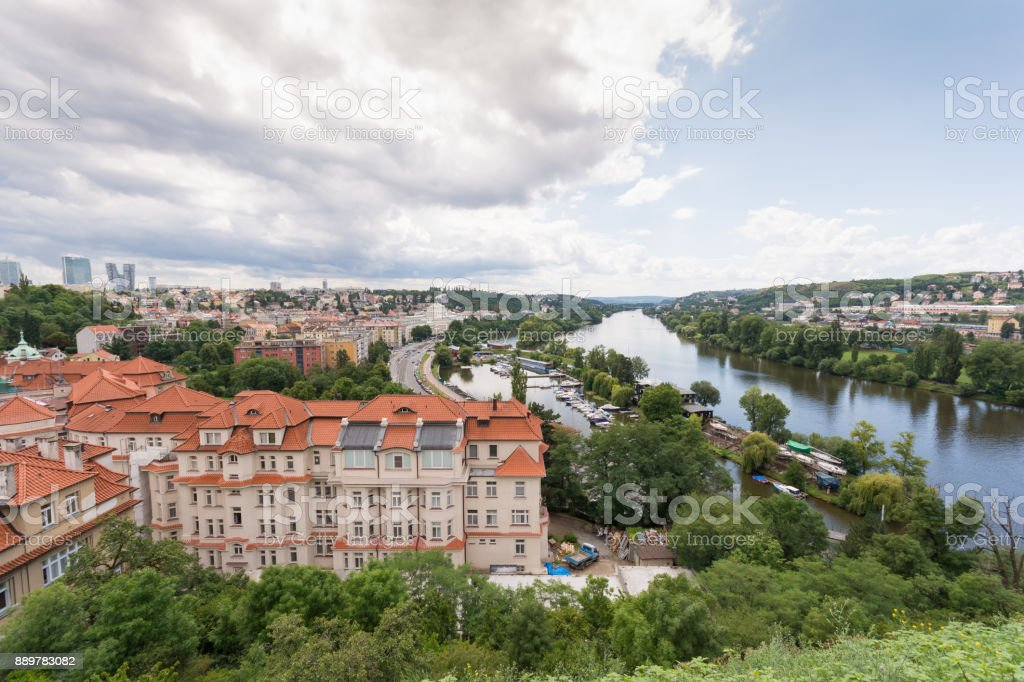 View of prague city from fort of Vysehrad,Prague,Czech republic, July 2017 stock photo